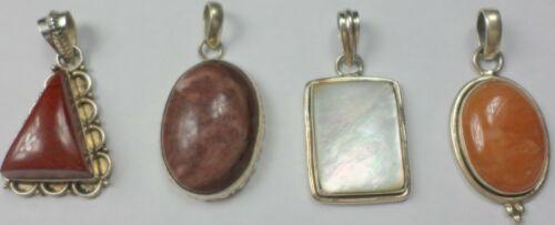 4 Vintage 925 Sterling Silver Jasper Agate MOP Cabs Gemstone Pendants 46 Grams