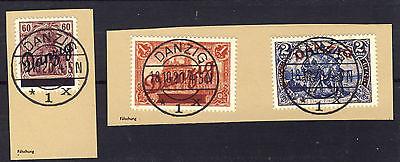 Danzig 1920 großer Innendienst Mi# 47-49 auf Briefstück gestempelt  FÄLSCHUNG