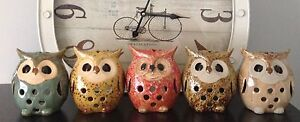 5 Owl Candle Holders