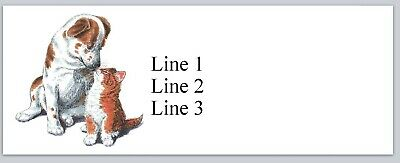 Personalized Address Labels Cute Dog With Kitten Cat Buy 3 Get 1 Free Jx 222