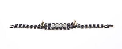 JOOMI LIM Split Personality Jet Black Crystal Bracelet w/ Small Spikes NEW