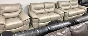 New 3Piece stationary pewter leather couch sofa, love, chair