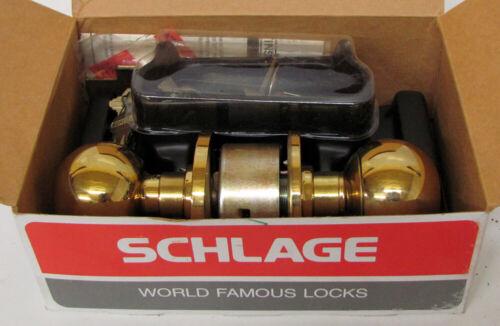 Vtg SCHLAGE A53PD ORBIT 605 Bright Brass Door Knob Keyed Lock Set Mid Century