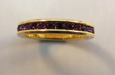 SIZE 8 14KT GOLD EP ETERNITY FEBRUARY AMETHYST WEDDING STACKABLE 3MM RING