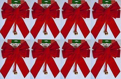 Large Red Velvet Christmas Bows 10