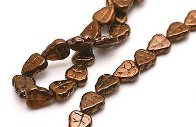 25 Dark Bronze Czech Glass Leaf Beads -