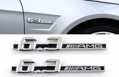 (Pair 6.3.AMG fender badge Decal Car Side Skirt Sticker Emblem S63 E63 CL63 C63)