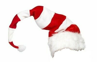 Long Red & White Striped Santa Hat Christmas Holiday Child Costume Accessory](Childrens Santa Hats)