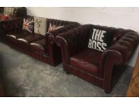 Beautiful Chesterfield 3 Seater Sofa & Club Chair Oxblood Red Leather - UK Delivery