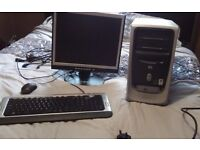 HP tower, monitor, keyboard and mouse. Works well. Think it runs on windows but nor sure which.