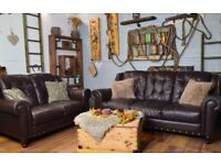 Vintage Leather 3 Seater & 2 Seater Sofas Dark Brown