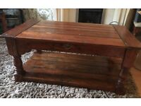 Coach House heavy 2 draw wooden coffee table with shelf