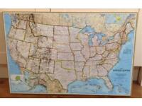 """UNITED STATES OF AMERICA MAP ON WOOD FRAMED CANVAS-EDUCATIONAL-GREAT CONDITION-30"""" X 20"""" X 1.5"""""""