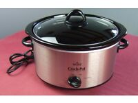 RIVAL MAINS ELECTRIC STONEWARE SLOW COOKER CROCK-POT BRUSHED CHROME 3.5 LITRE - IDEAL 2-3 PEOPLE