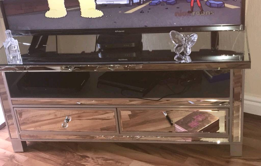 Mirrored glass tv stand for sale