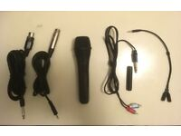 Selling microphone with XLR cables, Twin phono to jack cable with Stereo coupler and Audio splitter