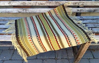 VINTAGE RUSTIC SMALL RUG RUNNER WOOL WESTERN TEXTILE SOUTHWEST HAND WOVEN