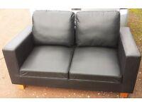 Black faux leather 2 seater sofa/settee