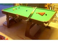 6ft Snooker Table - Immaculate Condition -hardly used. Optional table tennis cover that fits table.