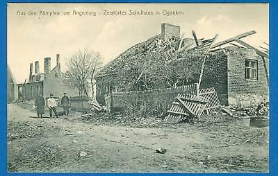 Ogonken, zerstörtes Schulhaus, Feldpost-AK, 1915