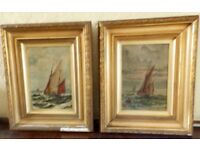 Charming Pair 19th C English School Oil on 'Sailing Off Coast' Initialled SP