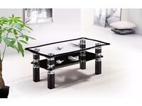 Glass Coffe Table Artistic Design With Black Colored & Bottom Shelf