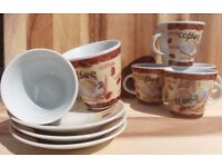 12 Espresso Coffee Cups and Saucers