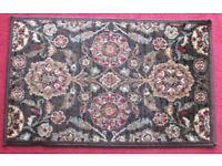 "DOOR MAT/RUG - 31"" X 20"" Pretty design, bound all round, hessian backed , good condition"