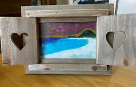 "Original Miniature Seascape ""Coral beach"" Isle Of Skye With Frame By D Dugnas"