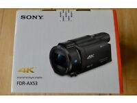 Sony FDR-AX53 Ultra HD 4K Camcorder Brand New Sealed Box.