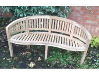 Solid Teak, Curved Garden Bench. New / Unused.
