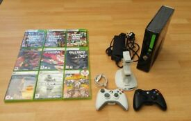 XBox 360 Slim, 250GB HD, 2 Wireless Controllers, 9 Boxed Games, Fully Working