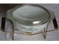 Chafing Dish with Pyrex Green Honeysuckle Lidded Casserole 043 1 1/2 Quart