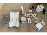 Nintendo Wii console, balance board, games and extras