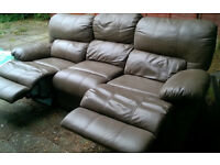 3-part reclining sofa for quick sale, beige/coffee coloured leather, can deliver locally.