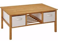 Brand New Coffee Table with Canvas Storage - Solid Wood