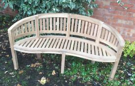 Solid Teak, Curved Bench, New / Unused