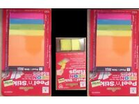 Peel 'n' Stick post it notes 2 pks of 76mmX76mm to 126mmx76mm + free neon flags