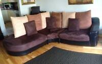 Sectional and two accent chairs