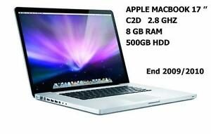MACBOOK PRO 17 C2D 2.8GHZ 8 GB 500 GB + Office 2016 ,FINAL CUT PRO X,LOGIC PRO X ,MASTER SUITE DE ADOBE CS6