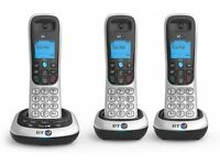 NEW! BT2600 Cordless trio DECT Phone with Answer Machine - Black/Silver, Pack of 3