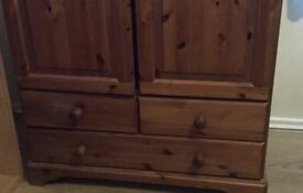 Two pine wardrobes with drawers