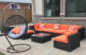 Outdoor Hanging Chair & Orange Patio Sectional Conversation Furniture Set -