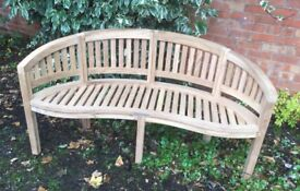 Solid Teak Curved Bench, New / Unused