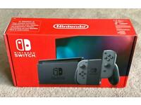 NINTENDO SWITCH CONSOLE GREY WITH IMPROVED BATTERY, 2 JOY CONTROLLERS, BRAND NEW IN SEALED BOX
