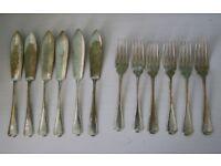 SET OF 12 ANTIQUE FISH KNIVES & FORKS CORONET PLATE SILVER DEPOSIT