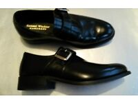 SAMUEL WINDSOR handmade Black Leather Slip On Shoes Size 6.5 RRP £99.00 (WORN ONCE)