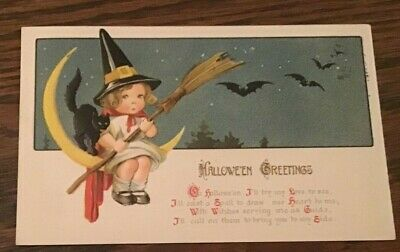 Antique Postcard Halloween Greetings Black Cat Little Girl In Hat 1913