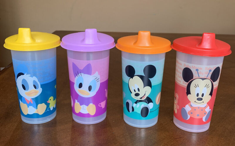 TUPPERWARE DISNEY BELL TUMBLERS WITH SIPPER SEAL DOMED SET !!!!