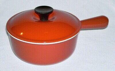 LE CREUSET ~ Vintage Burnt Orange Cast Iron 48 Oz. SAUCE PAN w/LID (18) ~ France